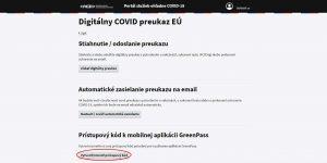 Stiahnutie Digitálneho COVID preukazu EÚ