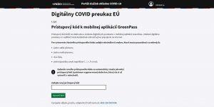 Prístupový kód k aplikácií GreenPass